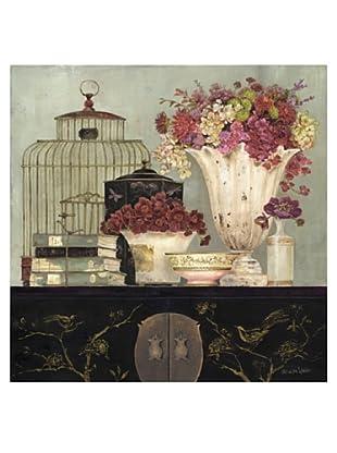 "Kathryn White Flower Whisper Hand-Embellished Canvas, 35"" x 35"""