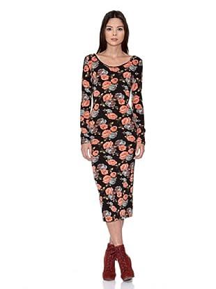 Rare Vestido Floral Middy Dress (Negro)