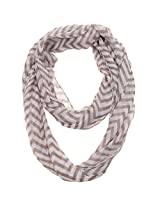 Thin Chevron Zig Zag Infinity Scarf (Grey & White)
