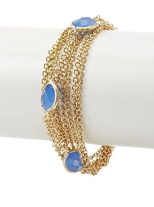 Rivka Friedman Multi-Chain Blue Chalcedony Crystal Bracelet