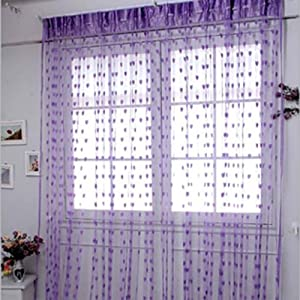 JBG Home Store Set of 2 Beautiful Purple Net Heart Curtains