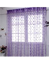 JBG Home Store Set of 2 Beautiful Purple Net Heart Curtains