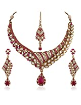 I Jewels Traditional Gold Plated Elegantly Handcrafted Kundan Jewellery Set with Maang Tikka for Women K7055Q (Rani/Dark Pink)