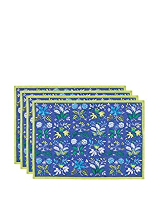 KAF Home Set of 4 Botanical Placemats, Periwinkle