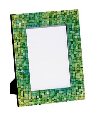 Mela Artisans Handcrafted Inlaid Bone Photo Frame, Green/Turquoise, 5