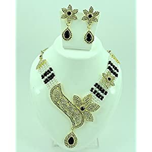 Indian Designer Flower Leaf Shape Black and Silver Crystal Necklace