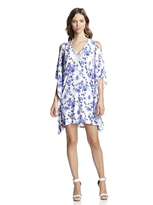 Valery Blu Women's Printed Tunic with Beading (Blue/Floral)