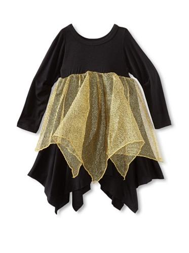 Ivy & Olivia Girl's Olivia Dress with Gold Mesh (Black/Gold)