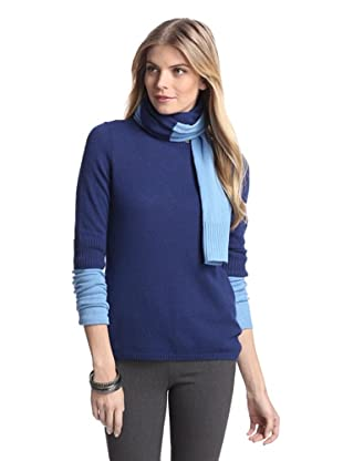Cullen Women's Colorblock Cashmere Sweater with Scarf (Sapphire/Skyfall)