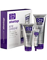 Clean & Clear Advantage Acne Control Kit, Cleanser 4-Ounce Tube, Moisturizer 2-Ounce Tube and Fast Clearing Spot Treatment, 0.5-Ounce Tube