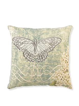 """Kathryn White Antique Butterfly & Lilac Pillow, 16"""" x 16"""""""