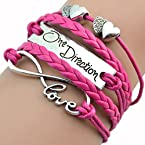 One Direction, love pink leather bracelet