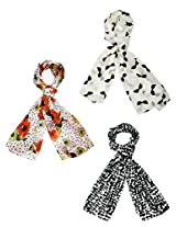 Diwali Gift- Set of three small trendy Stoles, scarf and dupatta multicolored stole for women- BUY SET SAVE SHIPPING