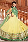 Bollywood Surbhi Jyoti Georgette Anarkali Suit In Yellow And Green Colour 7284