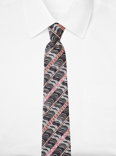 Emilio Pucci Men's Geometric Wave Tie, Grey/Taupe/Pink