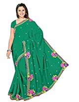 Chinco Embroidered Saree With Blouse Piece (201-C_Dark Green)