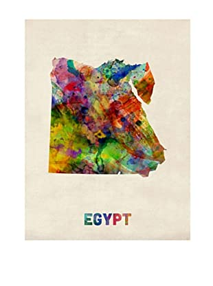 Trademark Fine Art Egypt Watercolor Map by Michael Tompsett