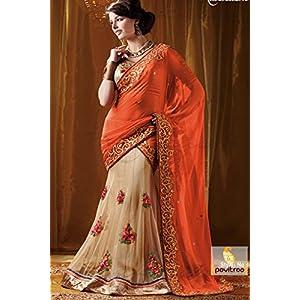 Unique Orange and Crimson Embroidered Saree