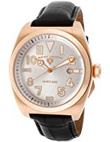 Men'S Heritage Silver Dial Rose Gold Tone Ip Case Black Genuine Leather (20434-Rg-02S)