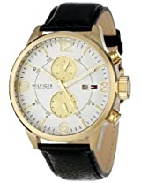 Tommy Hilfiger Men's 1790893  Casual Sport Black Leather Multi-Eye Watch