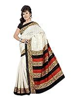 Jay Maa Ambey Creation Cotton Silk Self Print Saree (M.S_5010 - Copy _White)