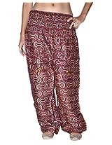 Famacart Women Pocket Printed Harem Pant Free Size Brown