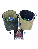 """Third Die Dice Bag - Very Large """"Bag of Hoarding"""" - Will Hold 500 Dice - Handcrafted and Reversible Drawstring Bag That Stands Open On The Table - For All Your Gaming Needs - Deep Green and Moss"""