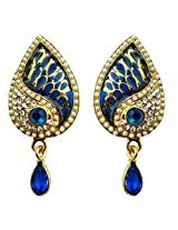 Dhwani Creation Alloy Drop Earrings for Women and Girls (Blue)