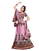 Anvi Creations Embroidered Jequard Lehenga Choli (Pink_Free Size)