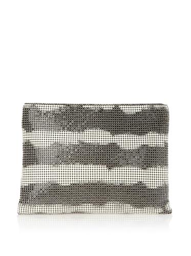 Felix Rey Women's Tie Dye Mesh Clutch, Black/Ivory