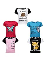 Goodway Junior GirlS 5 Pack Did you Know-2 Theme Combo Pack of 5 T-Shirts - 2-3 Years