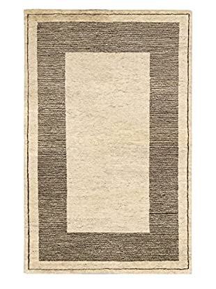 eCarpet Gallery One-of-a-Kind Hand-Knotted Royal Maroc Rug, Cream/Dark Brown, 4' 11