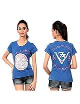 Texco Women's Round Neck T-Shirt (TC0048W-002_Blue_X-Large)