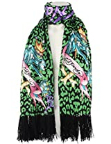 Ed Hardy Womens Panther Knit Scarf -Green/Black