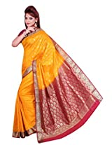 AISHA Printed Fashion Art Silk Yellow Sari