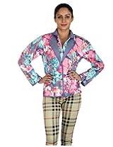 Rajrang Women's Light Weight Cotton Reversible Short Jacket Women (Gray, Pink, Medium)