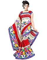 Shree Bahuchar Creation Women's Chiffon Saree(Skb46, Red and White)