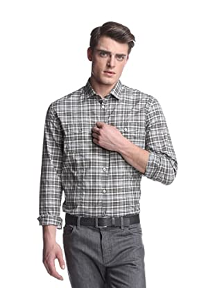 John Varvatos Collection Men's Slim Fit Shirt with Split Yoke (Taupe)