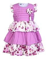 Babyhug Cap Sleeves Multi Layered Frock - Pink