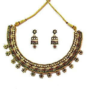 Daamak Jewellery Golden Necklace Set With Pearls And Stones