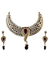 Vivanta Multi-Coloured Gold Plated Necklace And Earrings Set For Women (VD-N123)