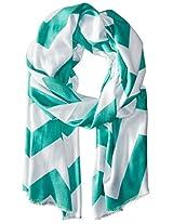 Saro Lifestyle Women's Chevron Design Scarf, Turquoise, One Size