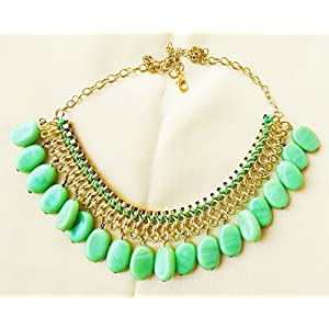 Daamak Jewellery Green Beads With Golden Chain