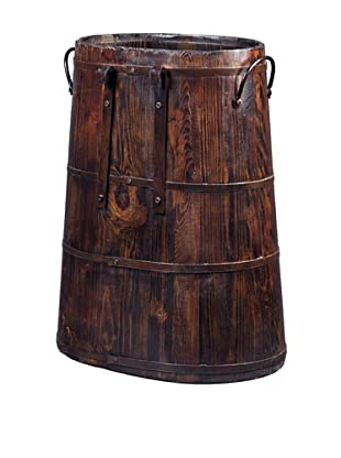 Antique Revival Chinese Barrel with Iron Rings (Natural)