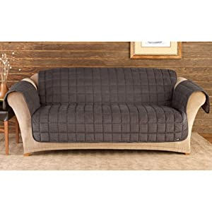 Sure Fit Deluxe Pet Cover  - Sofa Slipcover  - Mini Check Blck/Brwn (SF39795)