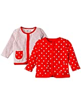 Infant Boys Full Sleeves Front Open Jhabla: Set of 2, Multi Colour (0-3 Months)