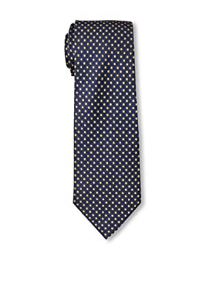 Aquascutum Men's Tie, Navy/Yellow Dots