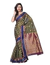 Manvi Traditional Greyish Green South India Silk Versus Cotton Saree ( Green ) (MSCAS1040)