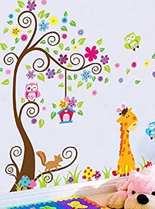 Ambiance Sticker Wandtattoo Giant Tree, Flowers, Lion And Giraffe