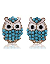 Cinderella Collection by Shining Diva Blue & Golden Coloured Bead Stud Earrings for Women 6930er
